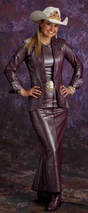 Amy Wilson Miss Rodeo America 2008 Wears A 3 Piece Mauve Pearlized Lambskin Ensemble