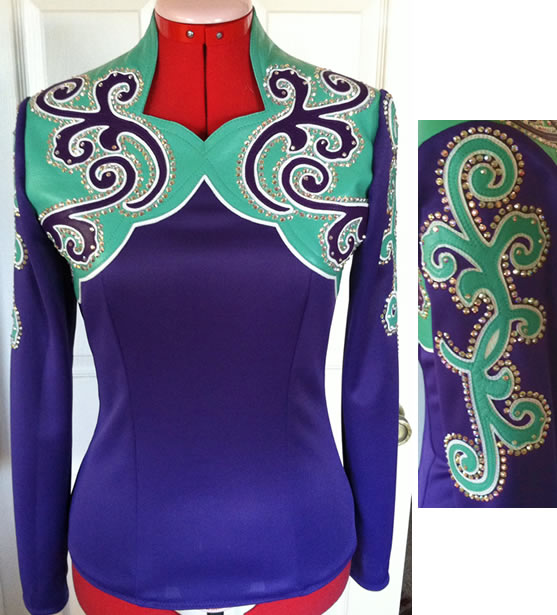 horsemanship shirt with aqua and purple lambskin leather  yoke and appliques