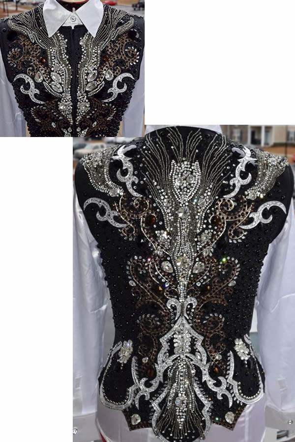 Black jeweled vest by Merland Couture
