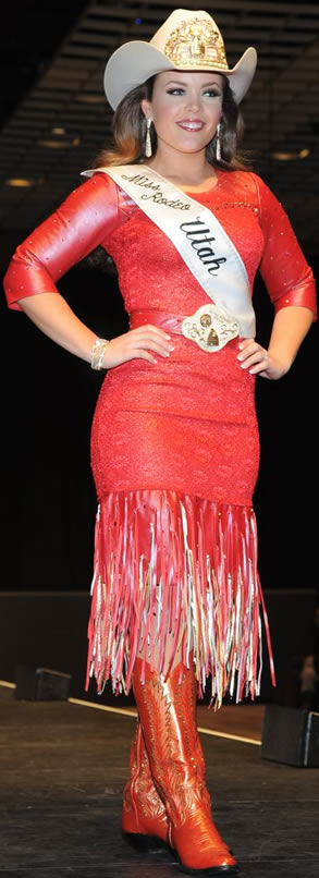 Brandi Mortensen wearing a red llambskin dress