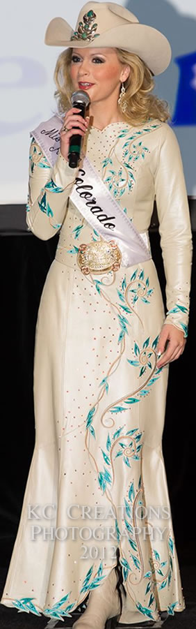 Cidy Cabot Miss Rodeo Colorado In An Off White Pearlized Lambskin Dress