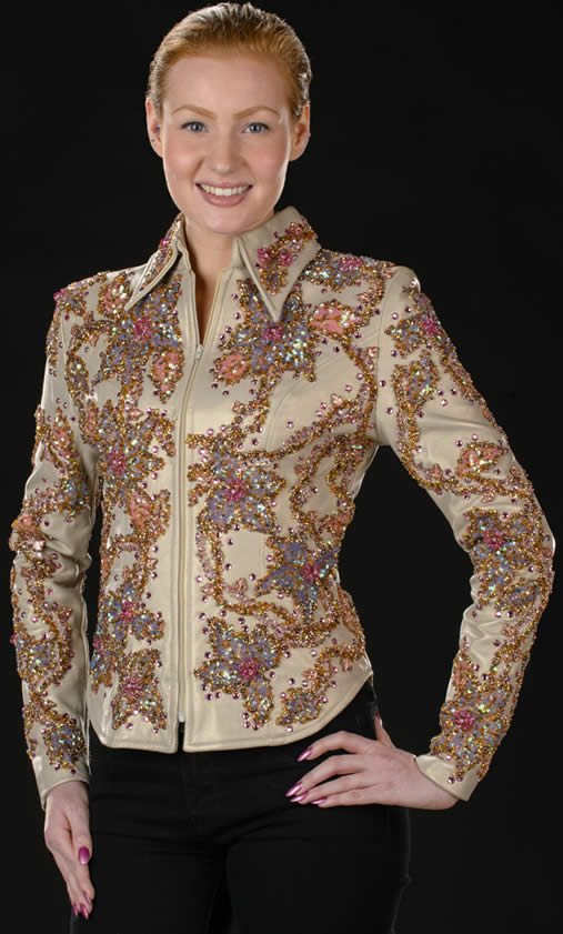 champagne pearlized lambskin jeweled show jacket designed by Riding High USA