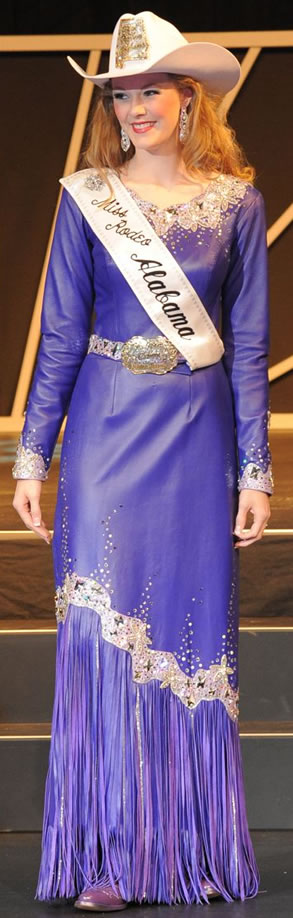 Chelsea Maness, Miss Rodeo Alabama, wearing a royal purple lambskin dress