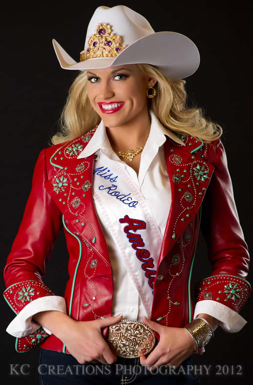 Chenae Shiner, Miss Rodeo America 2013 in a red lambskin vest