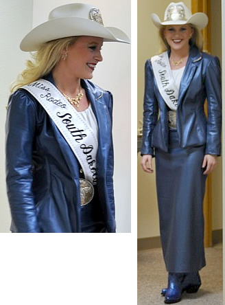 Courtney Peterson, Miss Rodeo South Dakota 2012 in navy pearlized lamskin