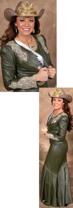 Desiree Bridges, Miss Rodeo Wyoming, in an olive lambskin suit
