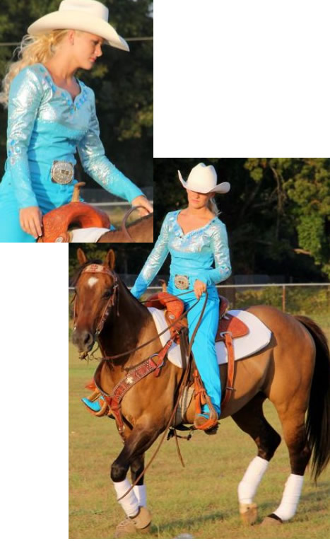 Faith Smith wears a turquoise lamb shirt trimmed with silver metallic leather