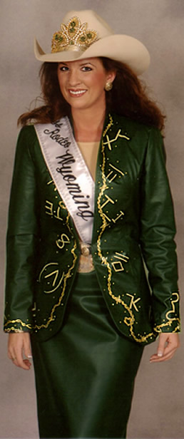 Stacie Kline in a forest green lightweight cowhide suit