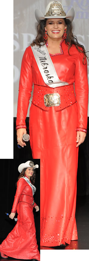 Gina Jesperson, Miss Rodeo Nebraska wearing a fire red lambskin dress