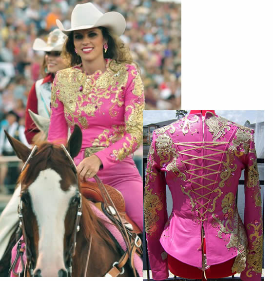 Jamie Udell wears a fuchsia lambskin shirt with gold metallic laser lace appliques.