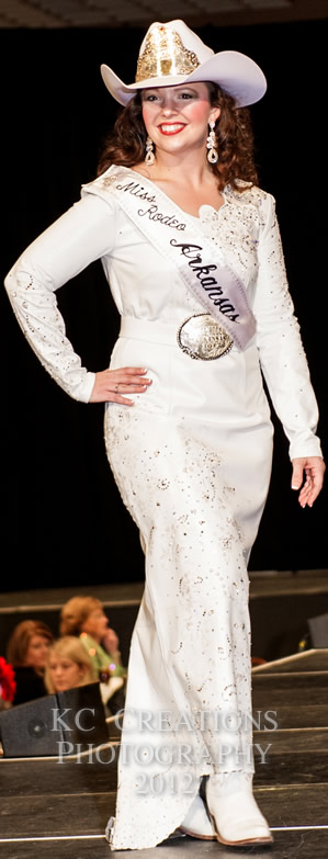 Jessaca Chitwood, Miss Rodeo Arkansas 2012 in a white lambskin dress