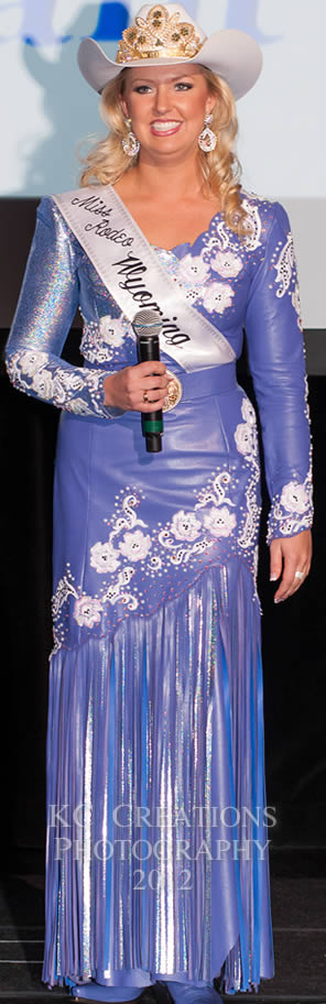 Miss Rodeo Wyoming 2012, Kimberly Kuhn in an English lavender lambskin dress