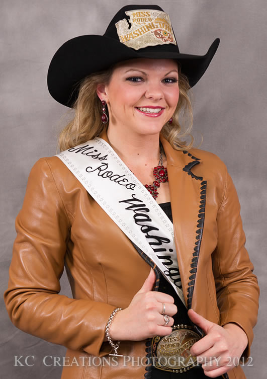 Kykie Kooistra, Miss Rodeo Washington 2012 in a rum lambskin jacket