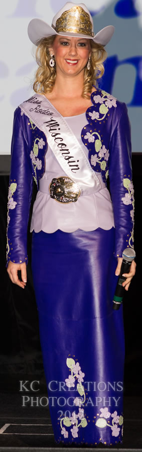 Laura Taysom, Miss Rodeo Wisconsin in a royal purple lambskin dress