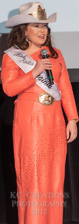 Lindsay Harper, Miss Rodeo Virginia in a coral lambskin dress