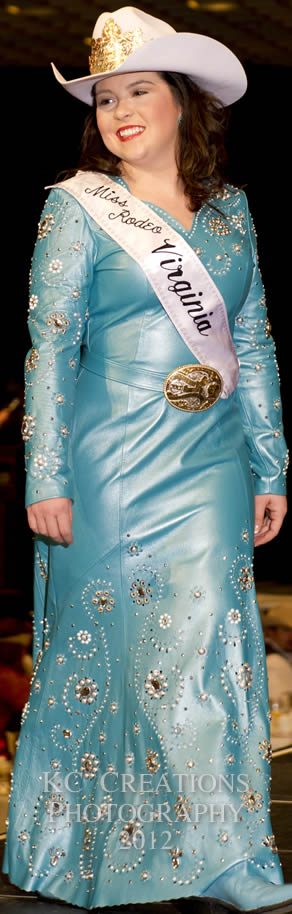 Lindsay Harper, Miss Rodeo Virginia 2012 wears a pearlized jade lambskin dress