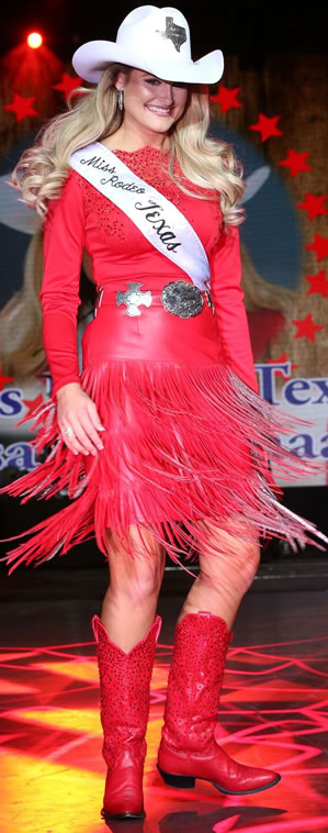 Lisa Lagaschaar, Miss Rodeo America, wearing a red fringed lambskin skirt