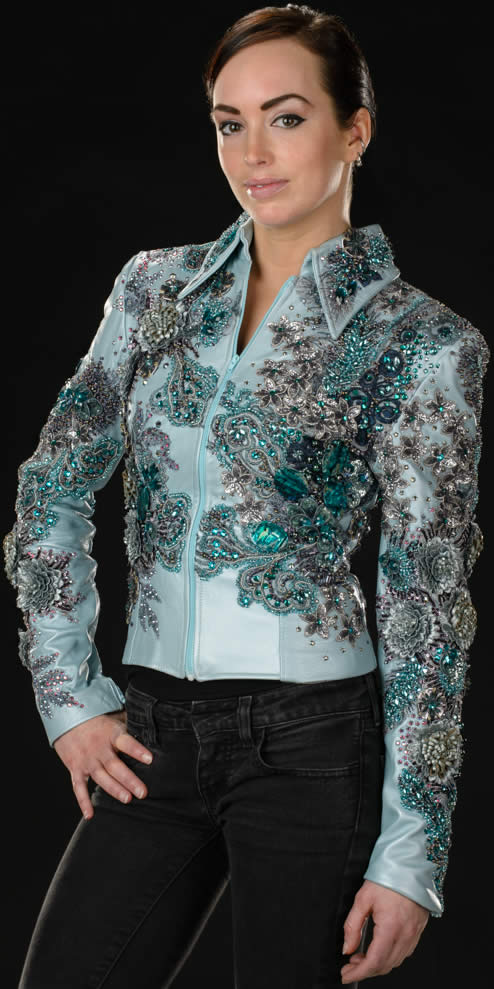 light blue pearlized lambskin jeweled show jacket designed by Riding High USA