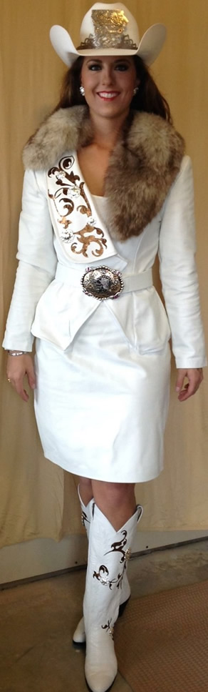 Hannah Hilsabeck, Miss Rodeo Iowa 2015, wearing a white lambskin suit
