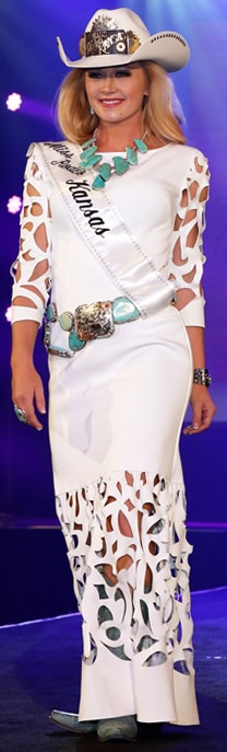 Miss Rodeo Kansas in a white lambskin dress