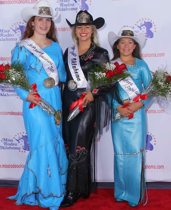 Miss Rodeo OK & attendants in leather dresses