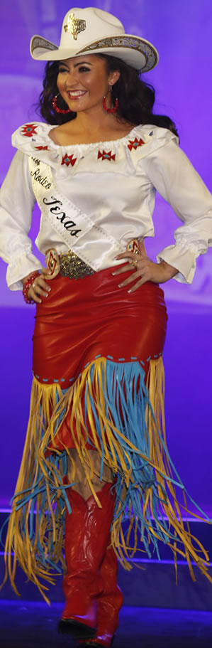 Nikki Woodward, Miss Rodeo Texas, wearing a red fringed lambskin skirt