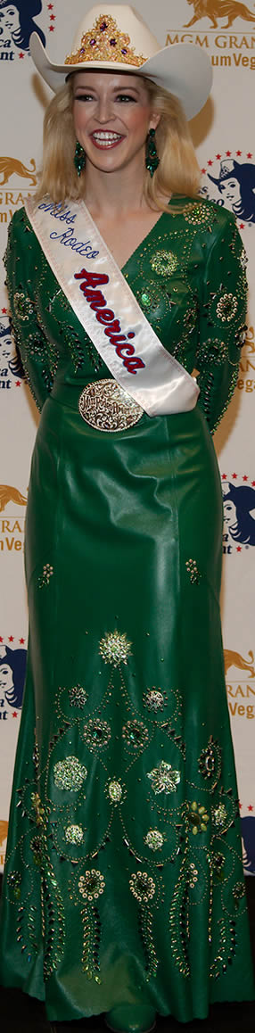 Katherine Merck, Miss Rodeo America 2016 in an emerald green lambskin dress designed by Jan Faulkner
