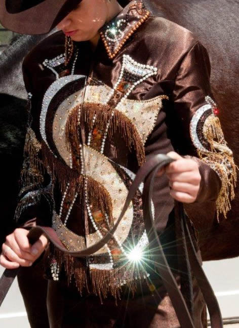 "horesmanship jacket trimmed with gold and bronze ""ice"" metallic leather"