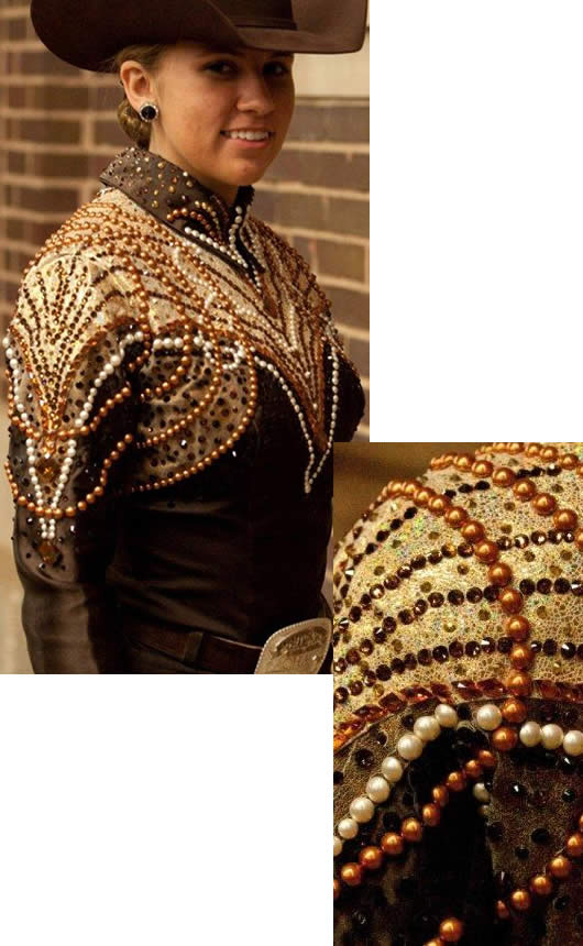 horsemanship jacket trimmed wiht gold and bronze metallic leather
