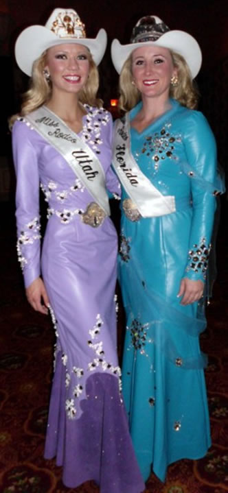Martina Wardel, Miss Rodeo Utah 2010 and Heather Hall, Miss Rodeo Florida 2010 in lambskin dresses