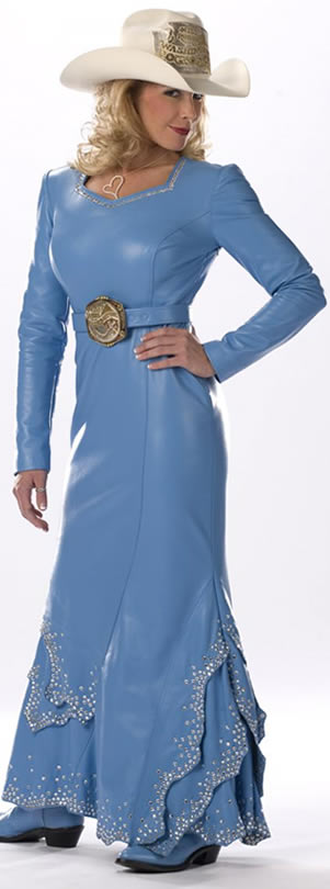 Jessica Crouch, Miss Rodeo Washington 2008 wears a medium blue lambskin dress
