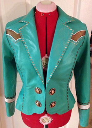 Aqua Leather Jacket by Melloworks Designs