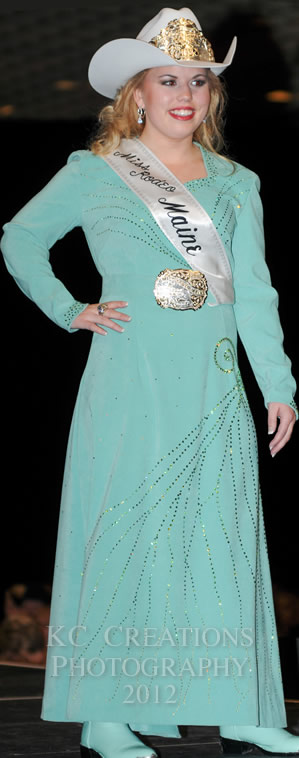 Michelle Morrise, Miss Rodeo Maine 2012 in an azure lambskin dress