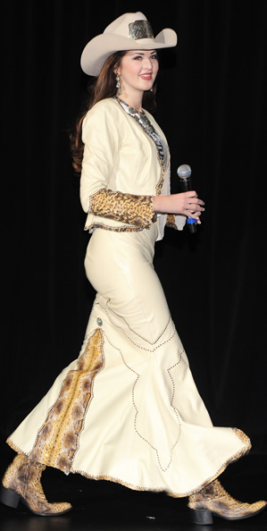 Morgan Blackhurst, Miss Rodeo Tennessee, wearing a chamois lambskin dress