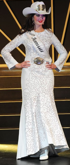 Morgan Blackhurst, Miss Rodeo Tennesse, wearing a white lambskin dress