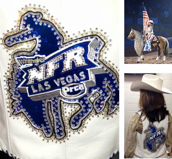 White cowhide vest with royal metallic trim worn at National Finals Rodeo 2013