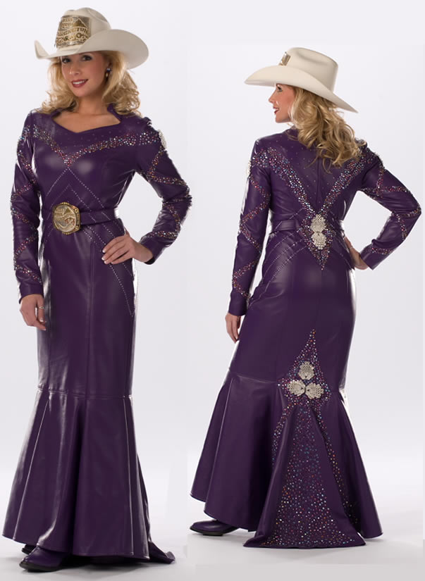 Jessica Crouch, Miss Rodeo Washington, wears a putple lambskin dress