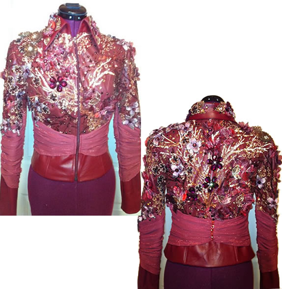 dark red lambskin jeweled show jacket designed by Riding High USA