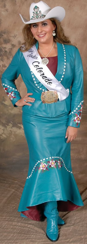 Rhianna Russell, Miss Rodeo Colorado wearing a jade lambskin suit