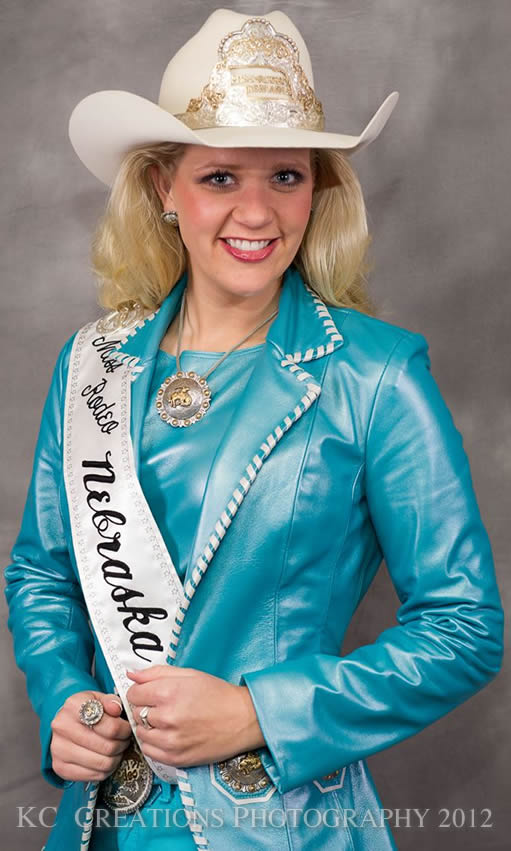 Sierra Peterson, Miss Rodeo Nebraska 2012 in a Kingman Turquoise lambskin vest