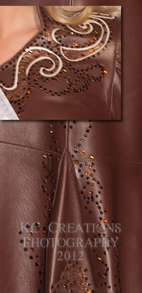 Close-up of Sierra Peterson's brown lambskin dress