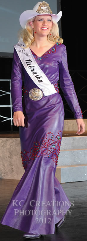 Miss Rodeo Nebraska 2013, Sierra Peterson wears a purple lambskin dress