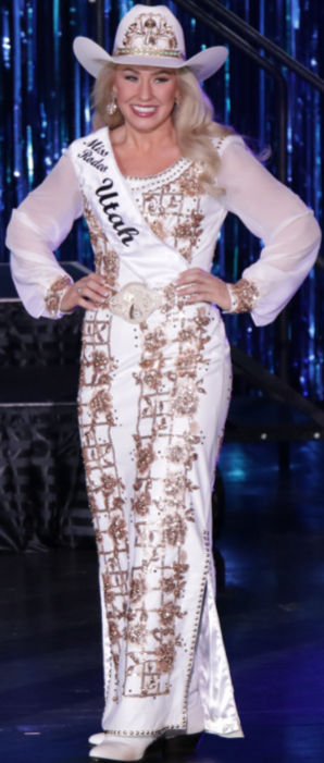 Carly Peercy, Miss Rodeo Utah 2018, in a white lambskin  dress