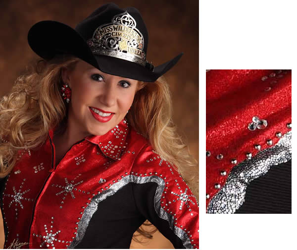 Chris Wade wears a western shirt made with red sparkle metallic and ice leather