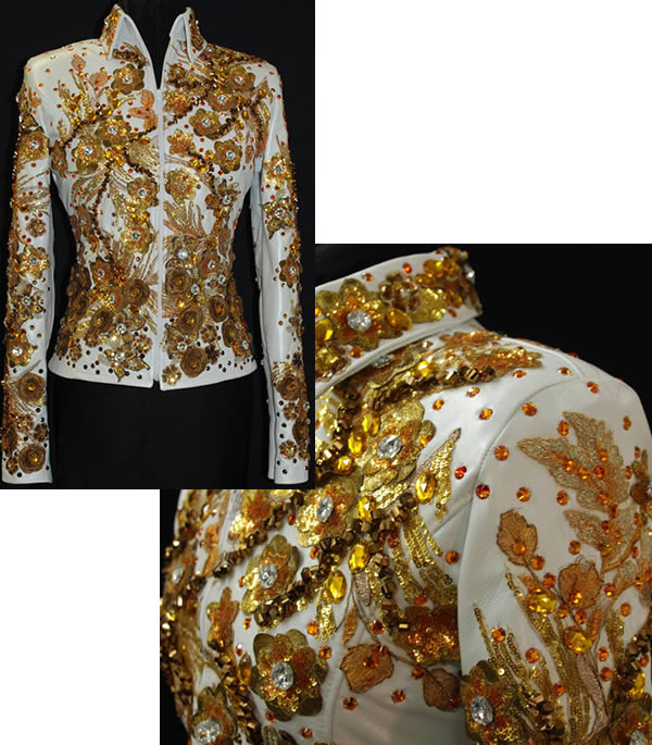 White lamskin jacket with metallic leather  flowers and jewels